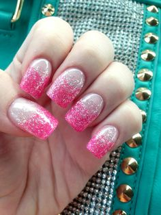 Pink tips with silver glitter gel nails
