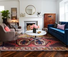 "Good mantle staging, nice style chairs for ""nook"" in living room"