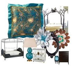 Peacock bedroom design. Love the nest at the top of the posters!!!! Perfect peacock and bird-themed bedroom for future house.