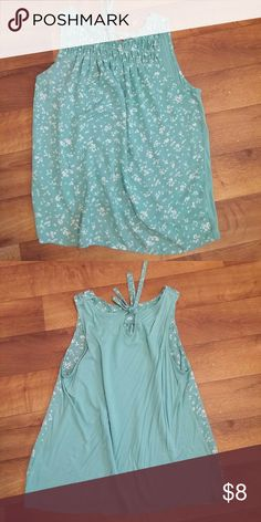 NWOT Aqua blue and white blousy tank Adorable top that can be dressed up or worn casual. Eyelet opening in the back that is tied closed. Back is solid. Soft, comfortable material. Elle Tops Blouses