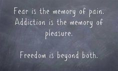 """""""Fear is de memory of pain, Addiction is the memory of pleasure.   Freedom is beyond both."""""""