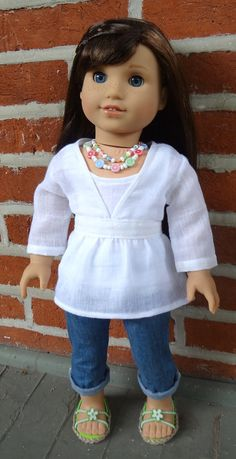 White gauze lace top by GumbieCatDollClothes on Etsy. Made following the LJC Lightning Ridge variation of the Killara Dress pattern. Get it here http://www.pixiefaire.com/products/killara-dress-and-top-18-dolls. #pixiefaire #libertyjane #killaradress