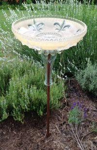 Vintage glass light shade repurposed into a bird bath. Glass Light Shades, Bird Fountain, Birdhouses, Repurposed, Beautiful Gardens, Gardening Tips, Yard, Diy Crafts, Outdoor Decor