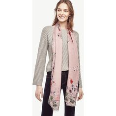 Ann Taylor Winter Geranium Scarf ($50) ❤ liked on Polyvore featuring accessories, scarves, maribel pink, pink silk scarves, ann taylor, pink shawl, ann taylor scarves and silk scarves