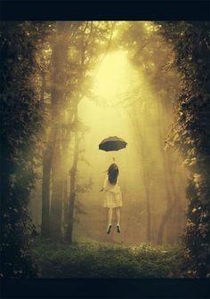 girl flying - umbrella - forest
