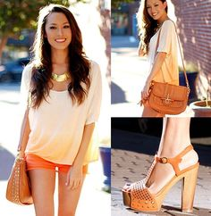 Art Orange clothes with gold accessories = :) fashion-i-need