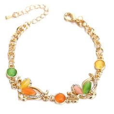 18K Gold Plated Unique Shaped Opal Charm Bracelet Brand New. Price is Final. Feel free to browse my closet. Jewelry Bracelets