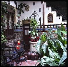 Intern patio with moura influence (Arabic) tiles Toledo,Castilla-La Mancha,Spain.