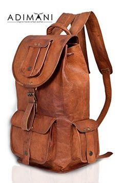 Enjoy exclusive for ADIMANI Handmade Vintage Leather Backpack Weekend College  Bag Women Backpack Genuine online c3940ab533f6d