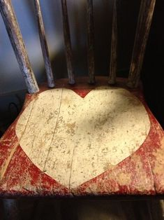 Distressed chair with painted heart