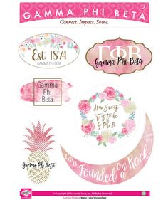 Gamma Phi Beta Sorority Stickers- Water Color - Brothers and Sisters' Greek Store