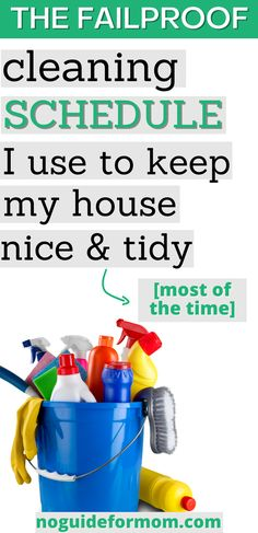 Start using this daily cleaning schedule to get a cleaning routine you can actually stick to. I'm able to easily keep my house clean with a messy toddler.