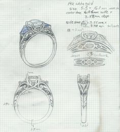 Hand Drawn at the beginning stages of custom designing a ring.