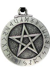 Large Rune Pentacle Pendant Pentagram Jewelry Wiccan Necklace Norse Pagan Runes