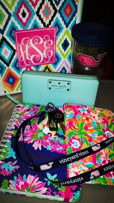 Monogram binder, vineyard vines tervis, vineyard vines key chain, Lilly Pulitzer planner, Lilly Pulitzer iPad case, and a Kate Spade wallet. Perfect everyday supplies!