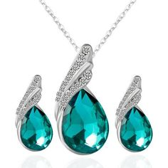 Rhinestone Fake Crystal Teardrop Jewelry Set ($2.82) ❤ liked on Polyvore featuring jewelry, teardrop jewelry, fake jewelry, set jewelry, imitation jewelry and crystal stone jewelry