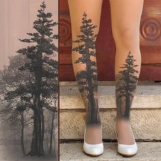 Printed Tights - TREE Tights- size S / M full length tights Nude Vanilla,White. Wolf Tattoos, Leg Tattoos, Body Art Tattoos, Small Tattoos, Sleeve Tattoos, Nerdy Tattoos, Forest Tattoos, Nature Tattoos, Elegant Tattoos