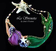 La Sirenetta, collana con seta shibori