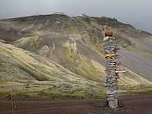 Traditional signpost with directions to civilization on Jan Mayen station