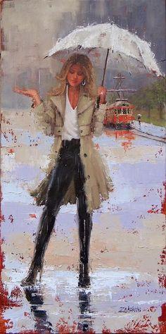 Rain Painting - Still Raining by Laura Lee Zanghetti Rain Painting, Painting & Drawing, Silk Painting, Rain Art, Umbrella Art, Laura Lee, Portrait Art, Beautiful Paintings, Belle Photo