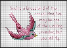 Cross-stitch breast cancer bird chart   from:  http://dmc-threads.com/stitch-pink-designs/