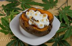 Marijuana Recipes - Streusel Stuffed Sweet Potatoes: This marijuana recipe is naturally portion controlled!  Each person gets their own sweet potato, stuffed with butter, brown sugar, pecans and, of course, miniature marshmallows. Break out your dab torch, if you have one, it will come in handy for this recipe.  Otherwise you can toast the marshmallows in the oven.