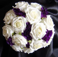Ivory Rose and Purple Lisianthus---so so so so close to what I want!!! Make it violets instead and add blue flowers!