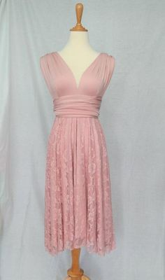 LilZoo Knee Length Convertible Infinity MultiWay Wrap Dress in Dusty Rose Pink with Lace Overlay Skirt and Free Bandeau Rose Pink Dusty Rose Dress, Convertible Dress, Infinity Dress, Rose Lace, Knee Length Dresses, Summer Dresses, Formal Dresses, Lace Overlay, Dress Me Up