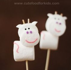 marshmellow cow-no baking but I want to make these for christmas (family joke)
