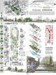 PLACAS URBANAS Architecture Concept Diagram, Architecture Presentation Board, Architecture Panel, Architecture Graphics, Presentation Design, Landscape Architecture, Landscape Design, Sustainable Architecture, Residential Architecture