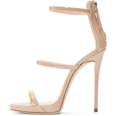 Giuseppe Zanotti Pink Coline Heeled Sandals ($775) ❤ liked on Polyvore featuring shoes, sandals, pink sandals, open toe sandals, patent leather shoes, strappy sandals and high heel sandals