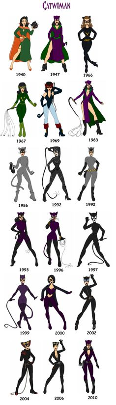The evolution of Catwoman MY faves: 1940, 1967, 1983, and 2000. @Carly Belliveau what ones do you like, do you know what I am thinking? ;)