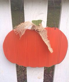 Fall/Autumn Decoration. Pumpkin made from beadboard. Rustic and distressed