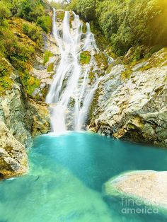 Carew falls at summer sunny day. New Zealand