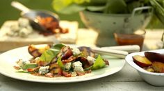 Spinach and Grilled Peach Salad with Blue Cheese, Bacon and Sweet-and-Sour Dressing