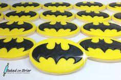 Batman Cookies | by Baked on Briar Batman Food, Lego Batman Party, Batman Birthday, Superhero Party, 5th Birthday, Birthday Ideas, Cookies For Kids, Cute Cookies, Sugar Cookies