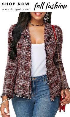 6323290179af4 USD42.38 Frayed Hem Plaid Pattern Button Front Blazer  liligal  blazer  Blazer Fashion