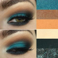 Tutorial – Teal and orange. In Spanish but with great photos outlining each step. #beautyalong www.beautyalong.com