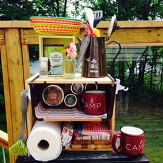 Our new homemade glamping kitchen caddy
