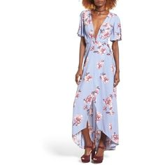 Women's Astr Selma Floral Print Wrap Dress (1 555 ZAR) ❤ liked on Polyvore featuring dresses, periwinkle floral, party maxi dresses, wrap dress, floral maxi dress, plunging neckline maxi dress and floral wrap dress
