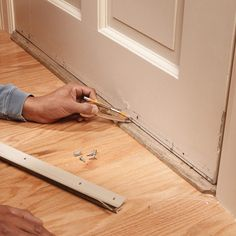 Replace Your Weather Strip: Bottom Door Seal Replacement Install a door bottom weather strip to wooden doors for an effective and almost invisible airtight seal and to stop drafts. Home Renovation, Home Remodeling, Remodeling Companies, Bathroom Remodeling, Home Improvement Projects, Home Projects, Do It Yourself Furniture, Home Fix, Diy Home Repair