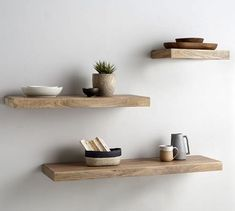Ideas & inspiration for real life. Oak Floating Shelves, Floating Shelves Bedroom, Rustic Shelves, Wooden Wall Shelves, Oak Shelves, Shelves For Wall, Bedroom Wall Shelves, Salon Shelves, Wooden Shelf Design