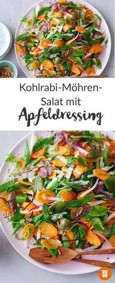 Fancy a colorful, healthy salad with kohlrabi, carrots, sugar peas and a delicious dressing? I Recipe I WW Your Way I Weight Watchers Recipe I WW Recipe I Weight Watchers Germany Kohlrabi-Karotten-Salat mit Apfeldressing Vegetarian Soup, Healthy Soup, Healthy Salads, Vegetarian Recipes, Healthy Recipes, Apple Dressing Recipe, Salad Dressing Recipes, Salad Recipes, Avocado Dressing