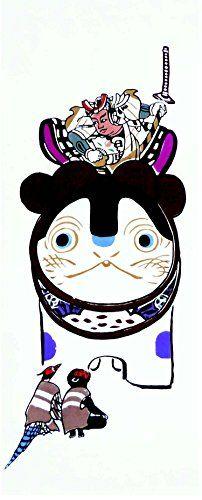 Inu Hariko Momotaro Tenugui | Inu Hariko (犬張子): Traditional amulet toy shaped dog | Momotaro (桃太郎): Japanese Folklore Hero