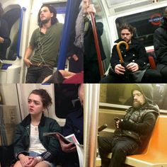 Rob Stark, Arya Stark, Jon Snow & Tyrion Lannister all riding the subway ⚔️