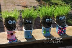 DIY Chia Pet Heads from upcycled yogurt containers - fun project with kids!