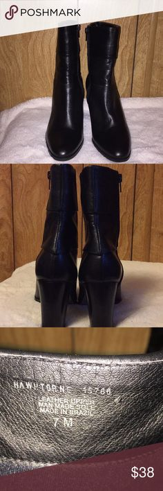 Boots Matisse Brand Black Cuff Boots. Leather, Made in Brazil. 2.5 in Cuff at the top of each boot. Gently warn. Right Boot inside small spot warn, otherwise boots look great. 3 in heel. Bought from DSW. Comfortable and easy to walk in.  Super cute. Matisse Shoes Heeled Boots