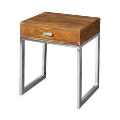 #Mesa auxiliar con la base de #madera con las patas de #acero y una cajón con tirador de color acero