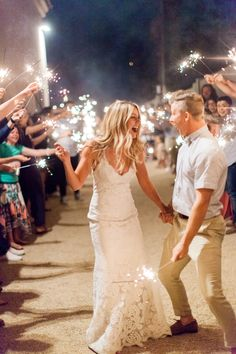 Wedding reception inspiration - sparkler exit.  Romantic blush backyard Arizona garden wedding by Pinkerton Photography, Arizona Wedding Photographer.