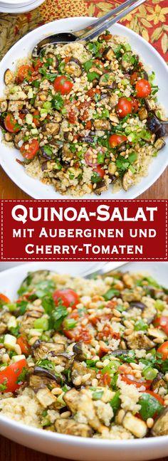 Ein Rezept für ein reichhaltiges, vegetarisches und glutenfreies Quinoa mit gebackenen Auberginen und Cherry-Tomaten. Ich habe Cherry-Tomaten und noch getrocknete Tomaten genommen. Dazu die tollen Aromen von Lauchzwiebel und Petersilie. Wenn Ihr dann noch ein Zitronendressing dazu mischt bekommt Ihr ein Aroma-Feuerwerk, das sich gewaschen hat. Die Pinienkerne sorgen noch für ausreichend Proteine. Vegan, Vegetarisch, Glutenfrei - einfache gesunde Rezepte - Elle Republic